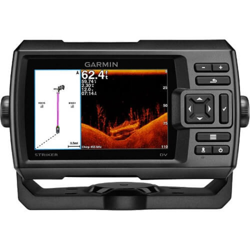 Сонар GARMIN STRIKER 5dv с високочувствителен GPS сонда 5-инчов цветен дисплей и ClearVü сканираща технология