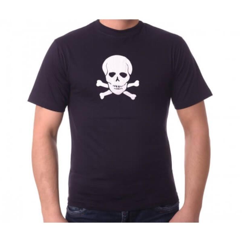 Тениска с щампа на череп и кости