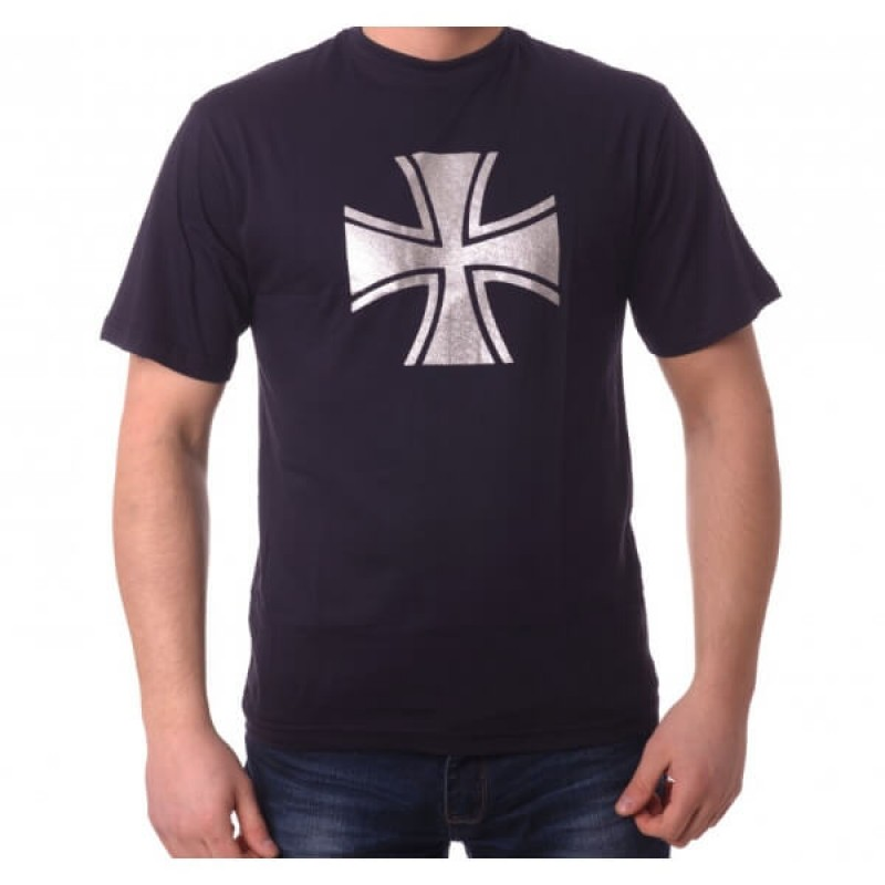 Тениска с щампа на сребрист кръст