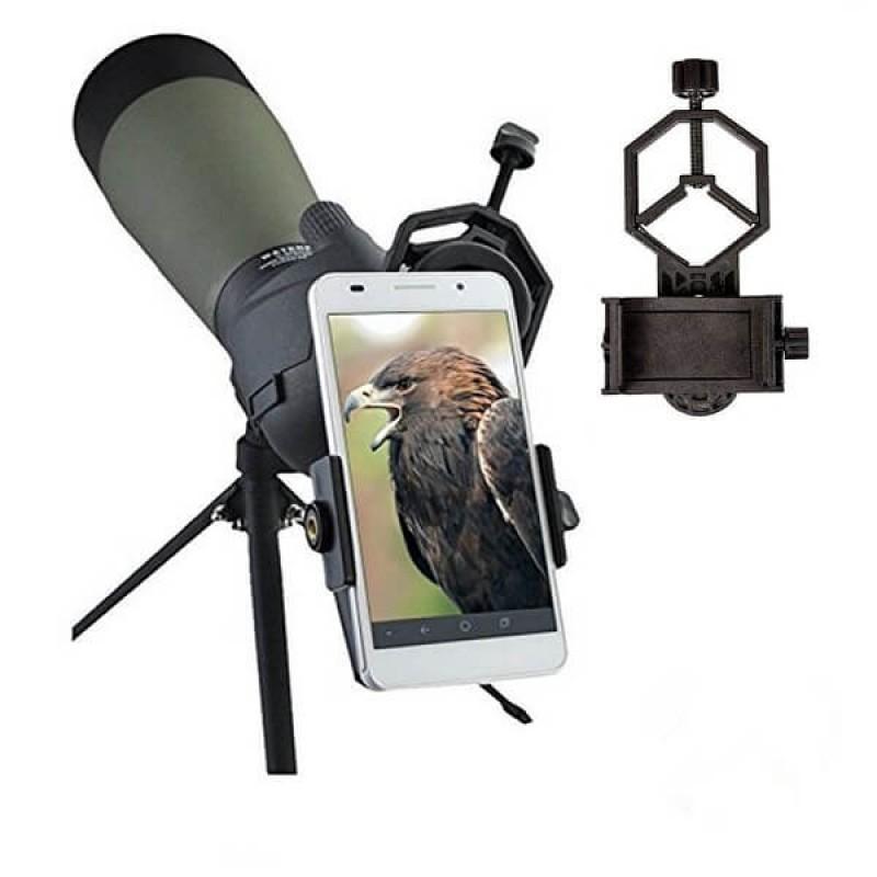 Свързваща стойка за мобилни телефони към оптични уреди